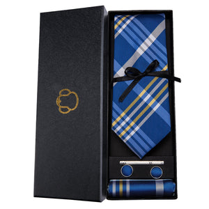 Fashion Accessories Blue Tartan Men's Necktie Set - Suit Monkey UK