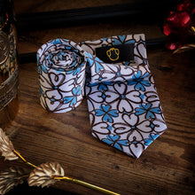 Load image into Gallery viewer, Blue & White Flower Men's Necktie Set Fashion Accessories Free Shipping!