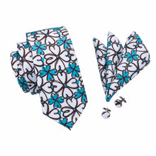 Load image into Gallery viewer, Blue & White Flower Men's Necktie Set Fashion Accessories Hi-Tie Official Store