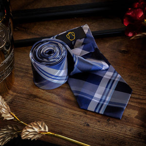 Fashion Accessories Blue & White Tartan Men's Necktie Set - Suit Monkey UK