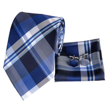 Load image into Gallery viewer, Fashion Accessories Blue & White Tartan Men's Necktie Set - Suit Monkey UK