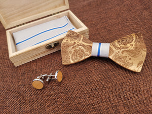 Blue & White Wooden Bow Tie Set Fashion Accessories Suit Monkey UK