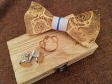 Load image into Gallery viewer, Blue & White Wooden Bow Tie Set Fashion Accessories Suit Monkey UK