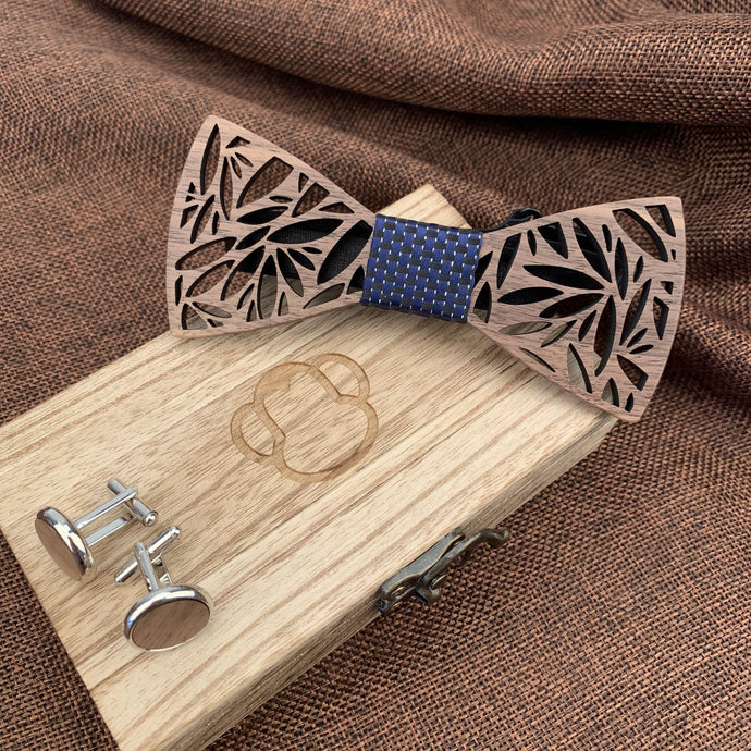 Fashion Accessories Blue Wooden Bow Tie Set - Suit Monkey UK