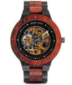 Bobo Bird Men's Automatic Mechanical Wood Watch BBER05 Fashion Accessories Fuchsia Max Red