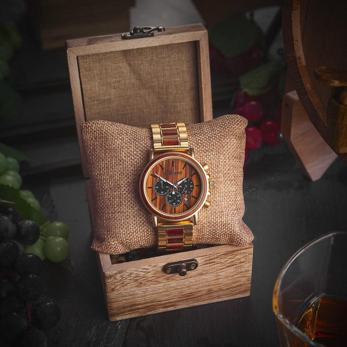 Quartz Watches Bobo Bird Men's Chronograph Wood Watch - Gold - Suit Monkey UK