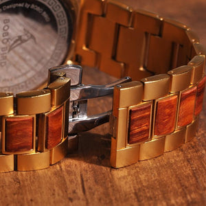 Bobo Bird Men's Chronograph Wood Watch - Gold Quartz Watches Free Shipping!