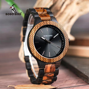 Bobo Bird Men's Two-tone Zebra & Ebony Wood Watch BBED30-1 Fashion Accessories Fuchsia Max