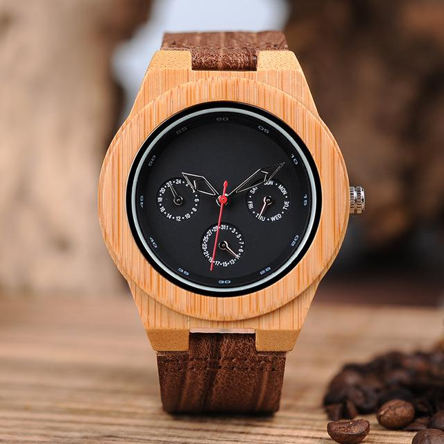 Bobo Bird Men's Wood and Leather Watch BBEH28 Fashion Accessories Fuchsia Max