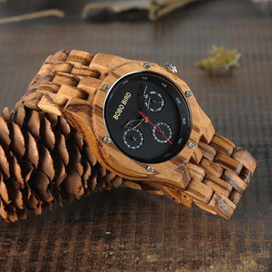 Fashion Accessories Bobo Bird Men's Zebra Stripe Wood Watch - Suit Monkey UK