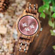 Load image into Gallery viewer, Bobo Bird Unisex Chronograph Bamboo Wood Watch BBEP18 Fashion Accessories Fuchsia Max