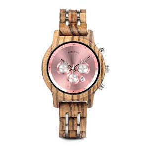 Bobo Bird Unisex Chronograph Bamboo Wood Watch BBEP18 Fashion Accessories Fuchsia Max Pink 40mm