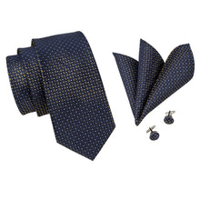 Load image into Gallery viewer, Bronze on Dark Blue Men's Necktie Set Fashion Accessories Hi-Tie Official Store