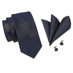 Bronze on Dark Blue Men's Necktie Set Fashion Accessories Hi-Tie Official Store
