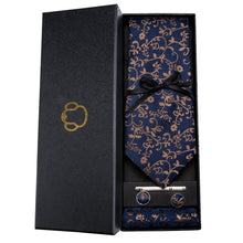 Load image into Gallery viewer, Brown Vines on Blue Men's Necktie Set Fashion Accessories Barry.Wang VIP Store