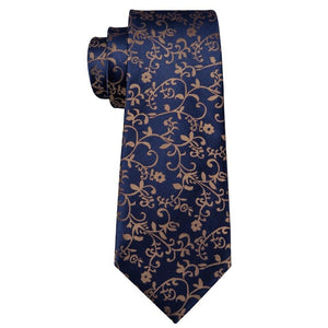 Brown Vines on Blue Men's Necktie Set Fashion Accessories Barry.Wang VIP Store