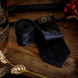 Fashion Accessories Chequered Black Men's Necktie Set - Suit Monkey UK