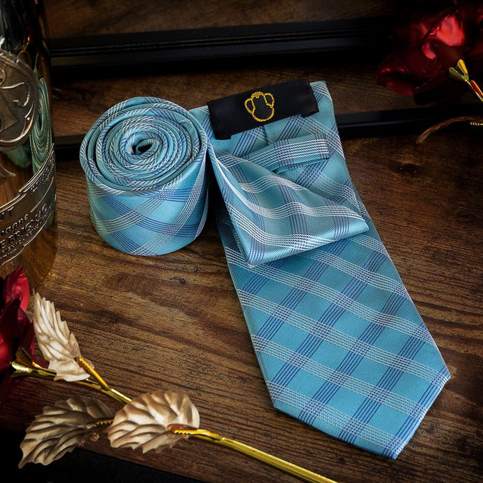 Cyan Chequered Men's Necktie Set Fashion Accessories Free Shipping!