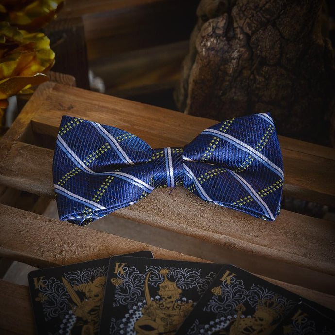 Fashion Accessories Dark Blue Chequered Men's Bow Tie Set - Suit Monkey UK