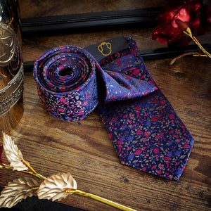 Fashion Accessories Dark Floral Men's Necktie Set - Suit Monkey UK