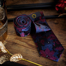 Load image into Gallery viewer, Fashion Accessories Dark Velvet Flowers Men's Necktie Set - Suit Monkey UK
