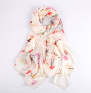 Dashes of Colour on White Ladies' Scarf Fashion Accessories Suit Monkey UK