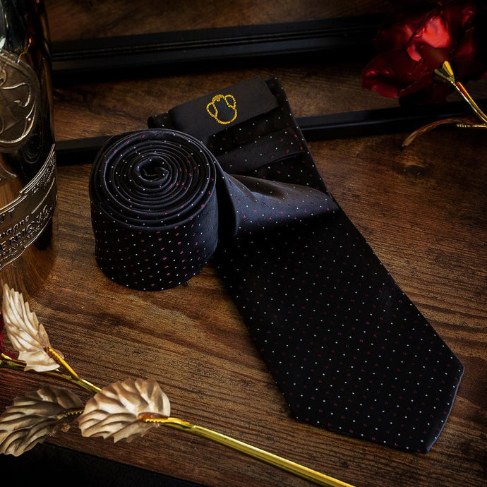 Fashion Accessories Dotted Black Men's Necktie Set - Suit Monkey UK