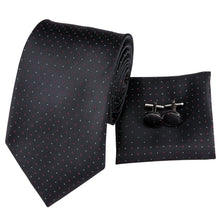 Load image into Gallery viewer, Dotted Black Men's Necktie Set Fashion Accessories Hi-Tie Official Store