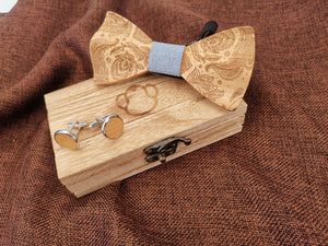 Duck Egg Patterned Wooden Bow Tie Set Fashion Accessories Suit Monkey UK