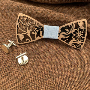 Duck Egg Wooden Bow Tie Set Fashion Accessories Suit Monkey UK Blue Flowers