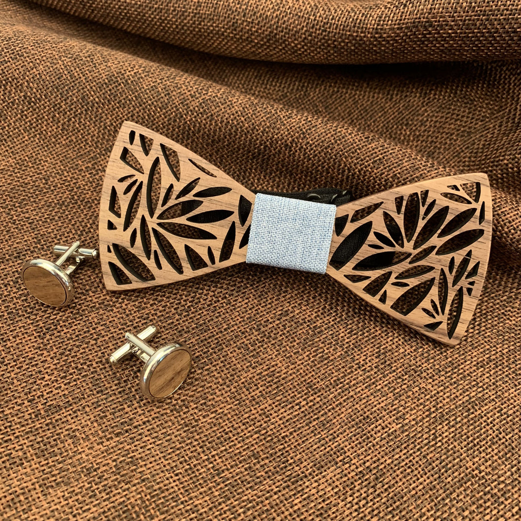 Duck Egg Wooden Bow Tie Set Fashion Accessories Suit Monkey UK Blue Leaves