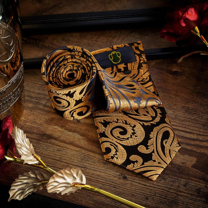 Gold & Brown Paisley Men's Necktie Set Fashion Accessories Free Shipping!