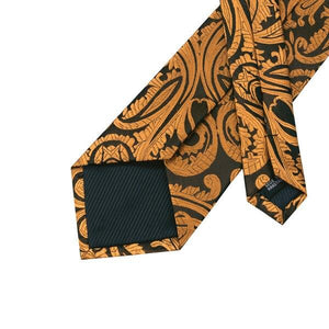 Fashion Accessories Gold & Brown Paisley Men's Necktie Set - Suit Monkey UK