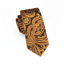 Load image into Gallery viewer, Fashion Accessories Gold & Brown Paisley Men's Necktie Set - Suit Monkey UK