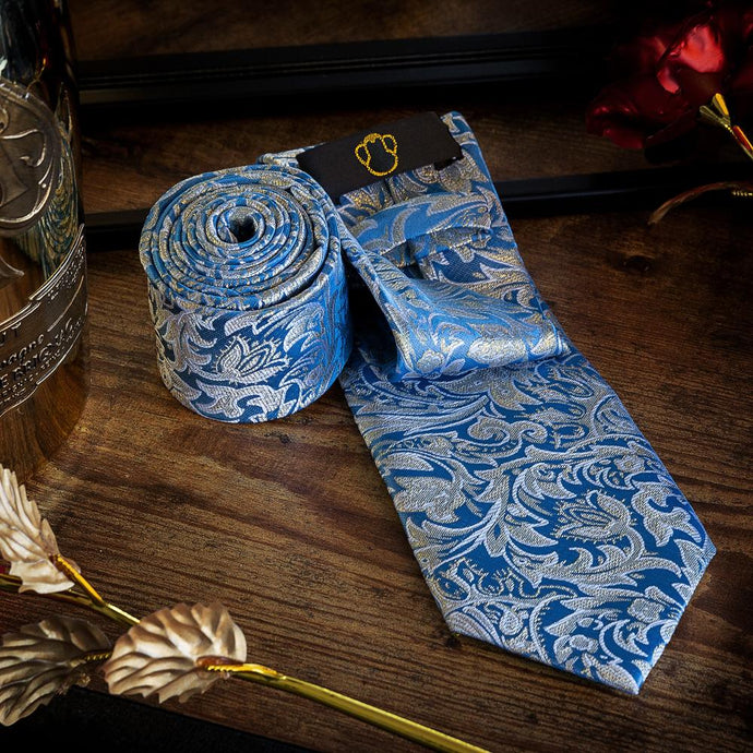 Golden Leaves on Blue Men's Necktie Set Fashion Accessories Free Shipping!