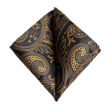Load image into Gallery viewer, Fashion Accessories Golden Paisley on Black Men's Necktie Set - Suit Monkey UK