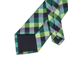 Load image into Gallery viewer, Green & Black Chequered Men's Necktie Set Fashion Accessories Hi-Tie Official Store