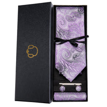 Load image into Gallery viewer, Lavender & Black Paisley Men's Necktie Set Fashion Accessories Barry.Wang Official Store