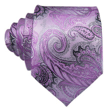 Load image into Gallery viewer, Fashion Accessories Lavender & Black Paisley Men's Necktie Set - Suit Monkey UK