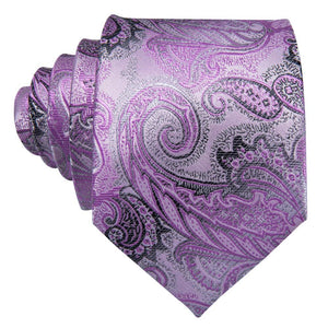 Lavender & Black Paisley Men's Necktie Set Fashion Accessories Barry.Wang Official Store