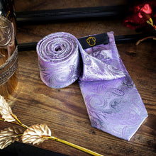 Load image into Gallery viewer, Lavender & Black Paisley Men's Necktie Set Fashion Accessories Free Shipping!