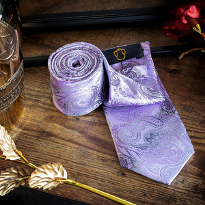 Lavender & Black Paisley Men's Necktie Set Fashion Accessories Free Shipping!
