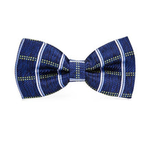Load image into Gallery viewer, Fashion Accessories Dark Blue Chequered Men's Bow Tie Set - Suit Monkey UK