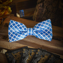Load image into Gallery viewer, Light Blue Chequered Men's Bow Tie Set Fashion Accessories Free Shipping!