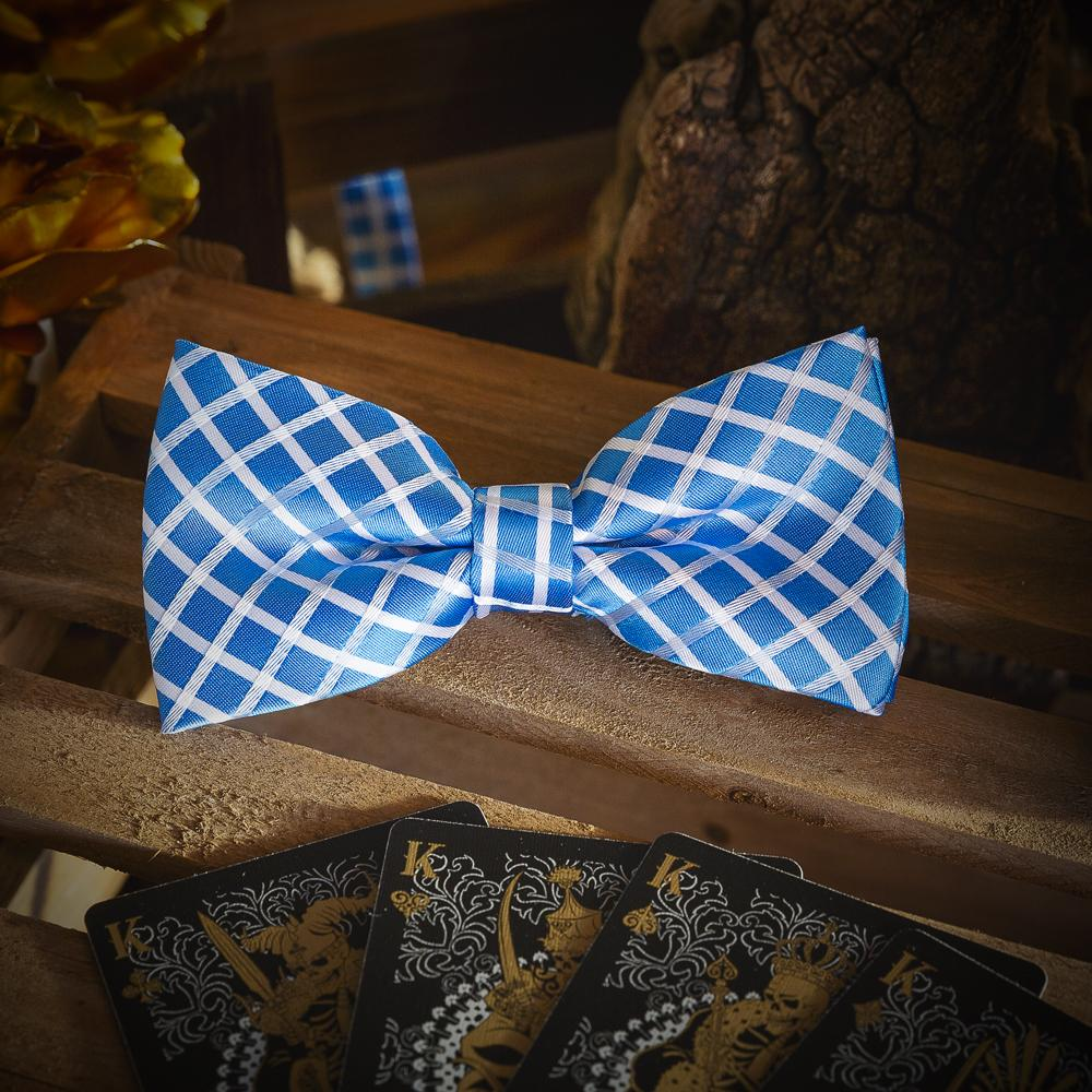 Light Blue Chequered Men's Bow Tie Set Fashion Accessories Free Shipping!