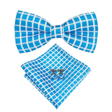 Load image into Gallery viewer, Light Blue Chequered Men's Bow Tie Set Fashion Accessories Hi-Tie Official Store