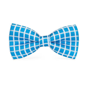 Light Blue Chequered Men's Bow Tie Set Fashion Accessories Hi-Tie Official Store