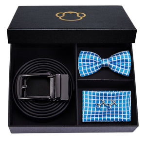 Fashion Accessories Light Blue Chequered Men's Bow Tie Set - Suit Monkey UK