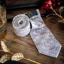 Load image into Gallery viewer, Light Brown Paisley Men's Necktie Set Fashion Accessories Free Shipping!
