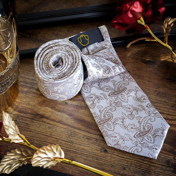 Light Brown Paisley Men's Necktie Set Fashion Accessories Free Shipping!
